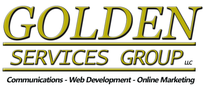 gold lettering - golden services group - web development & digital communications agency logo