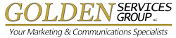 Gold and black lettering - golden services group, marketing and communications specialist