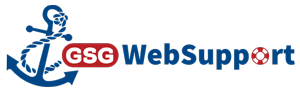 blue anchor with GSG WebSupport in red and blue letters